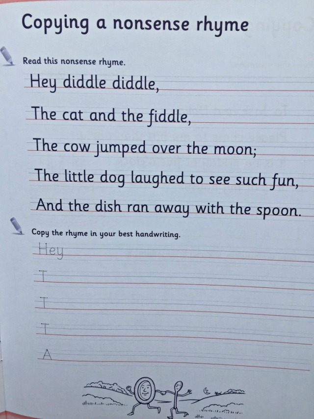 Schofield & Sims Handwriting 1 Book. Copying out a rhyme