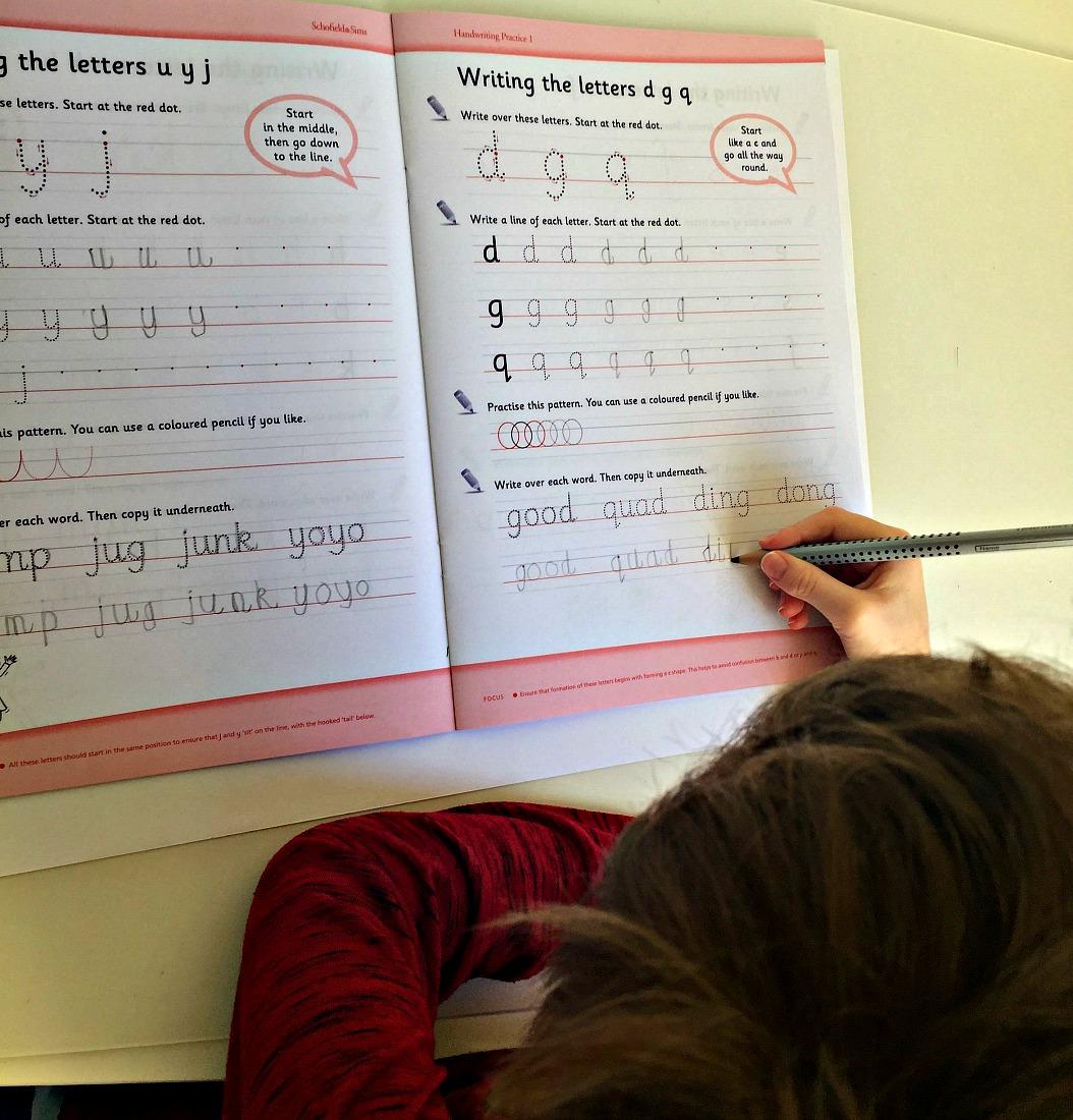 practicing handwriting