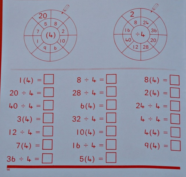 Schofield & Sims Number 5 maths workbook. Includes practice for time table and division