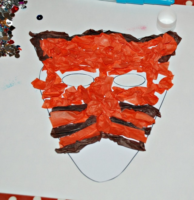 Tissue paper fox mask