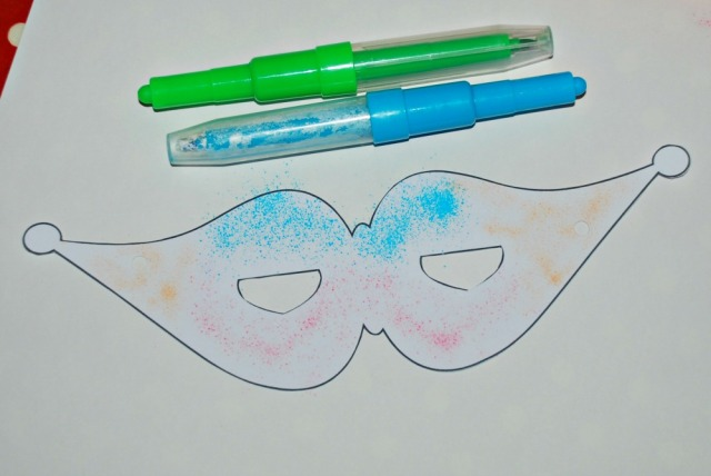 Using some blow pens on a standard mask template from Activity Village