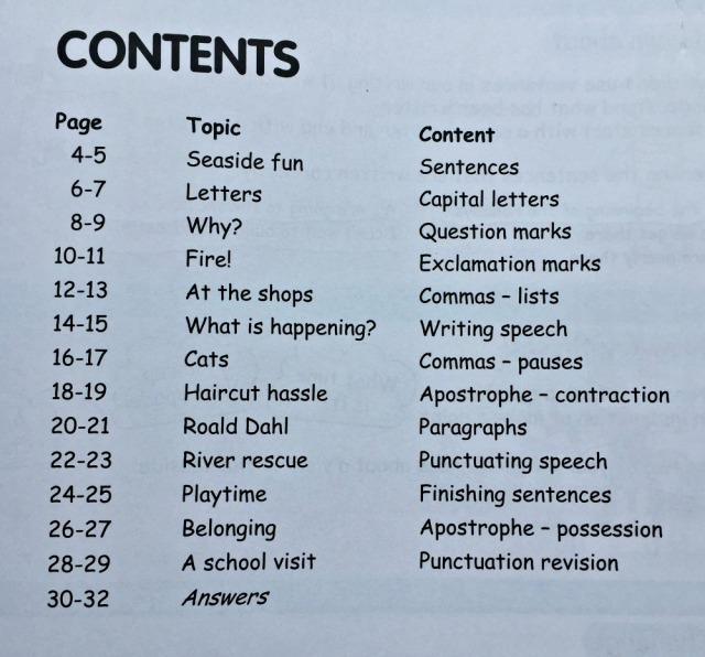 The contents page of At Home With Punctuation by Oxford University Press