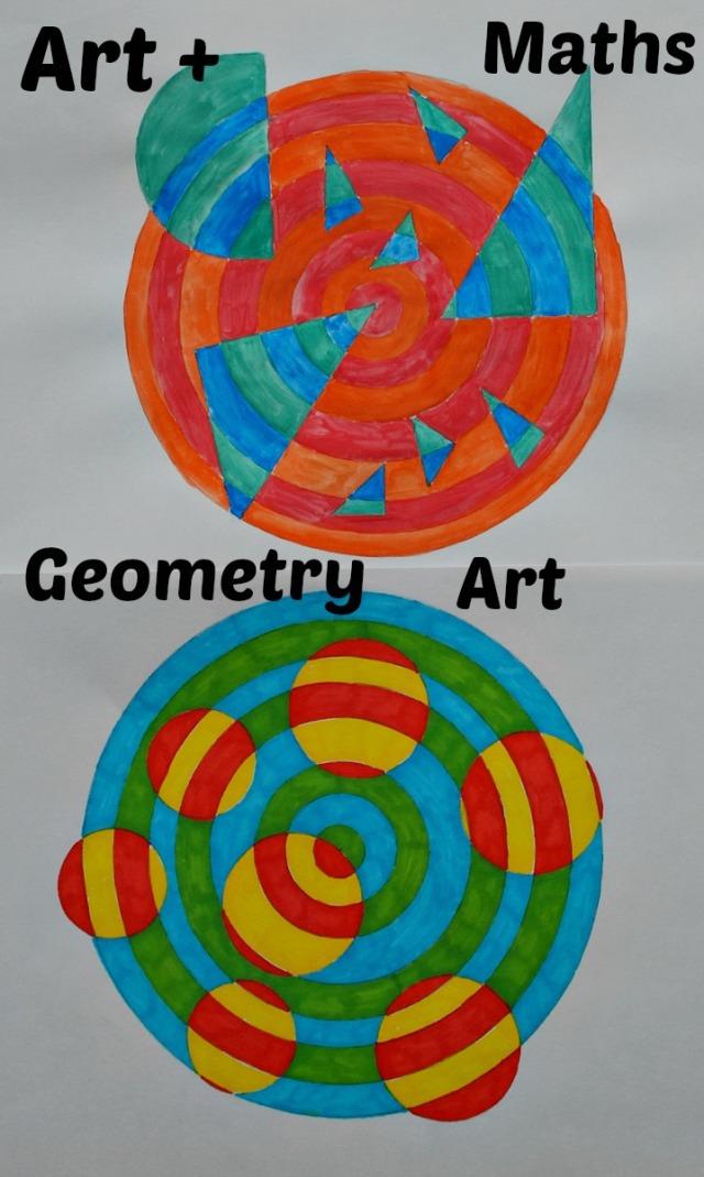 Maths plus Art. Geometry Set Art. Fun way of exploring a new geometry set