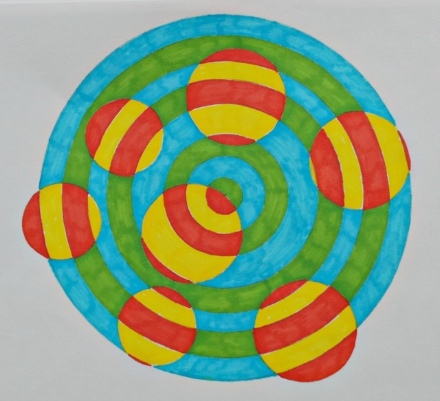 Geometry Art Project using a Maths Geometry set by ofamily learning together