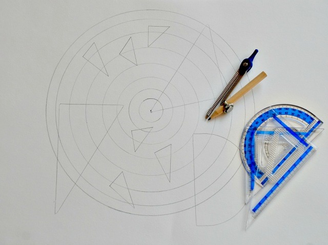 A Drawing created using a Maths Geometry set. One way of combining Maths and Art