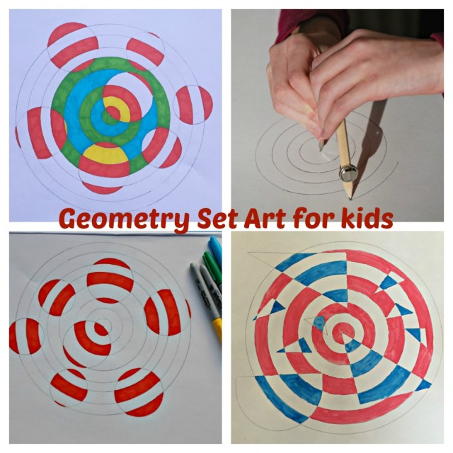 Geometry Set Art for kids. Combining Art and Maths together to make learning fun. ofamily learning together