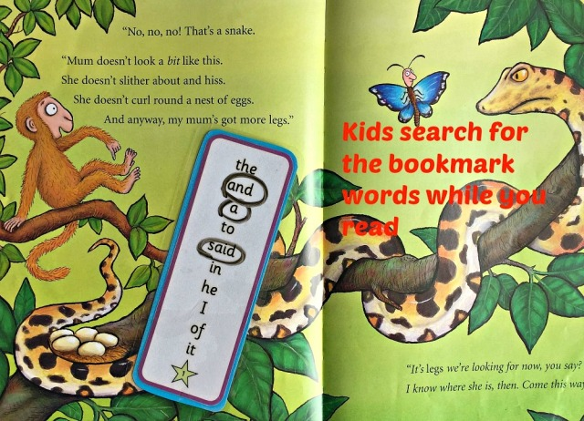 High Frequency Word Bookmark activity using bookmarks from Activity Village and Monkey Puzzle by Julia Donaldson