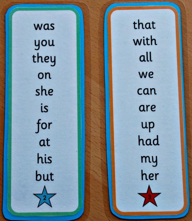 High Frequency Word Bookmarks from Activity Village