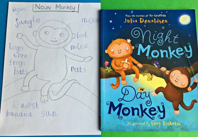 Night Monkey Day Monkey book activity. Do a Noun search and create a Noun Monkey
