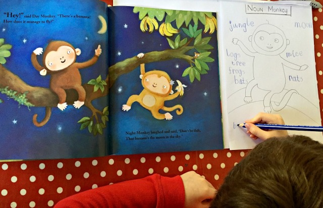 Night Monkey Day Monket Noun word search. A fun way to reinforce nouns by using a favourite story book