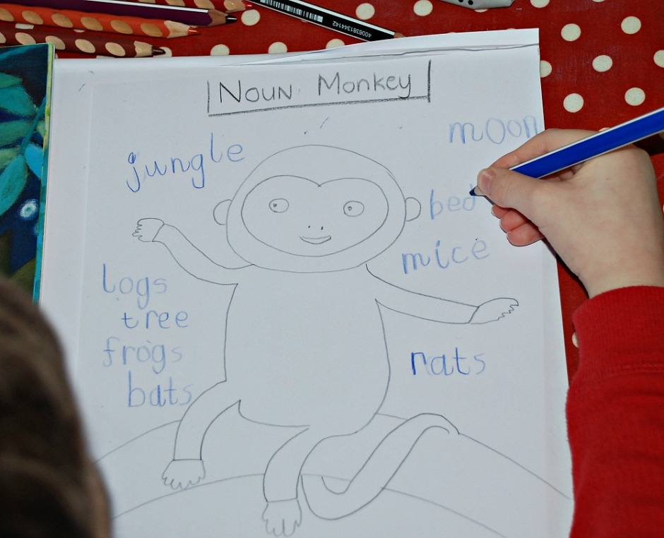 Create a Noun Monkey. Using the story book Night Monkey Day Monkey for a noun search activity