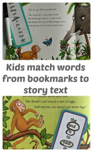 Sight Word Activity. Kids match words from high frequency bookmarks back to favourite storybooks