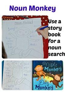 Use a favourite story book for a noun search.  Night Monkey Day Monkey is a good one to use