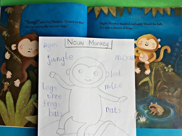 Using a favourite story book for a Noun Hunt. Night Monkey Day Monkey by Julia Donaldson