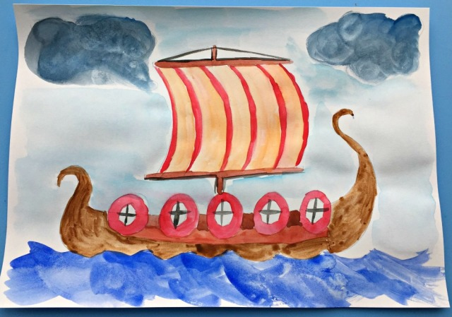 A Viking boat painting