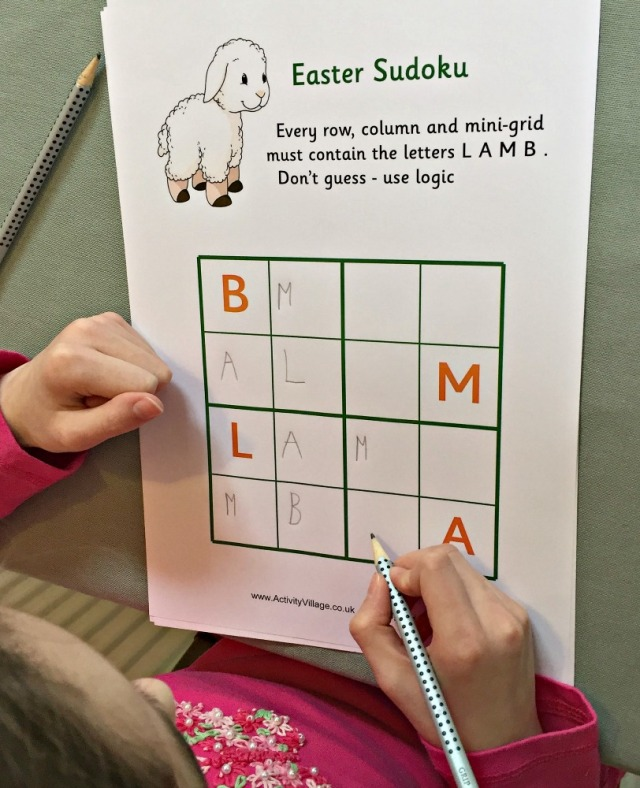 Activity Village Easter themed letter sudoku page. Lamb.