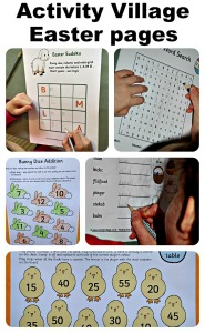 Activity Village Easter themed pages.  Word puzzles, maths pages, mazes and more