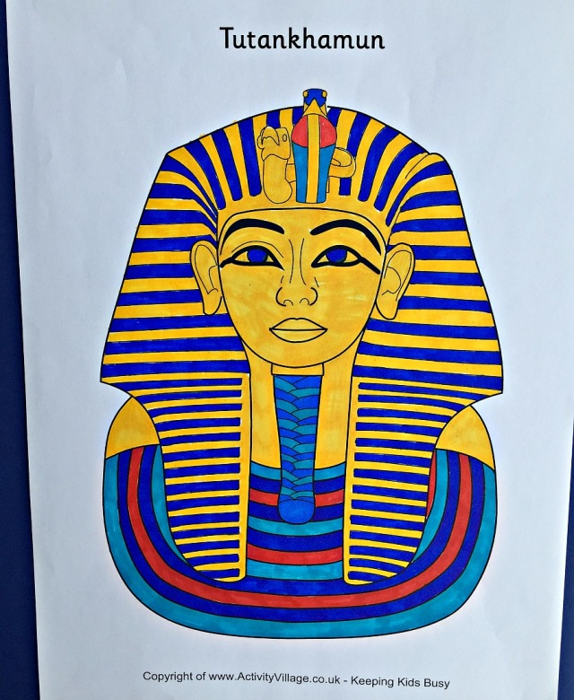 Ancient Egyptian Tutankhamun colouring page from Activity Village