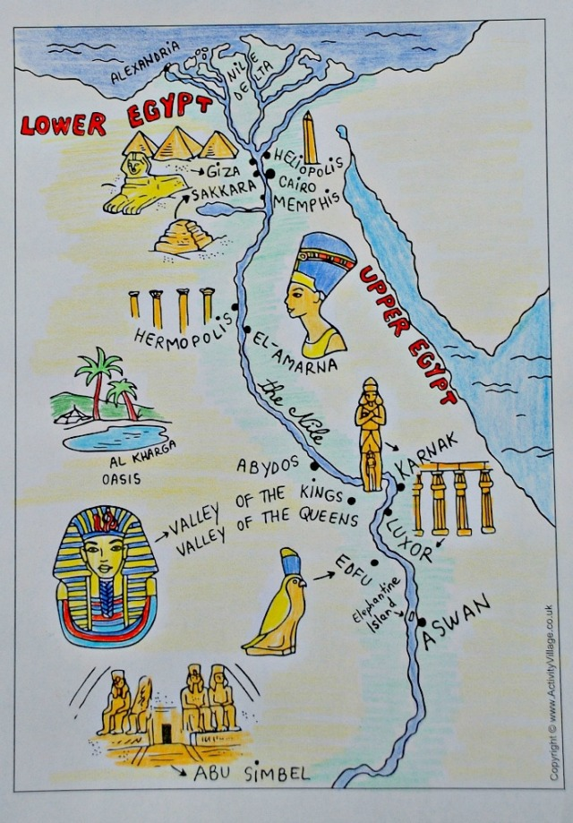 Ancient Egypt black and white map from Activity Village coloured in by the kids