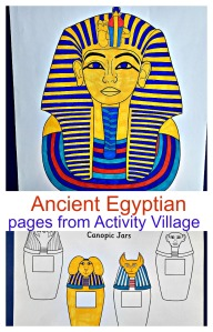 Ancient Egyptian pages from Activity Village including Tutankhamun's colouring page, canoptic jars and a map of Ancient Egypt