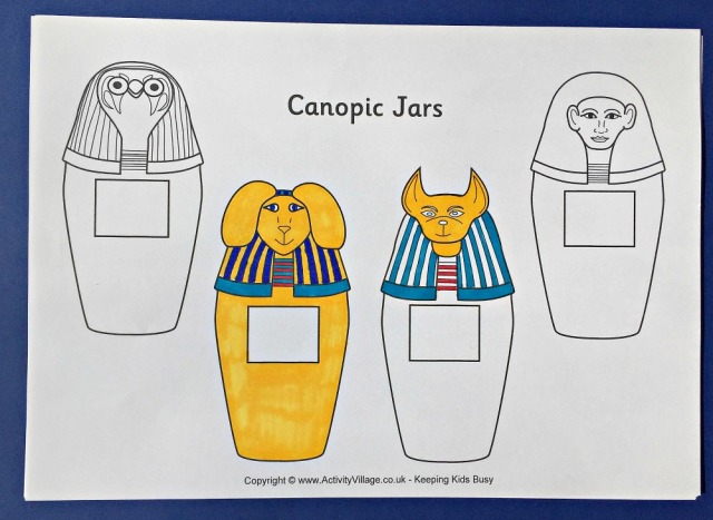 Canopic Jars part of the Ancient Egyptian mummification process. Page from Activity Village