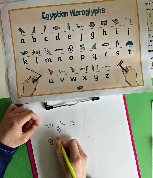 Egyptian Hieroglyphs. Fun Egyptian activity for young kids to do when they are learning about Ancient Egypt