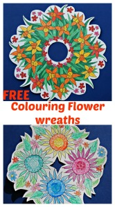 Free to download flower colouring wreaths from the Mrs Mactivity website