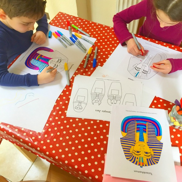 Tutankhamun colouring pages from activity village