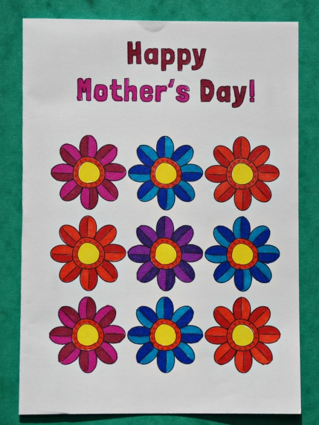 Free to download Happy Mother's Day colouring card from Mrs Mactivity site