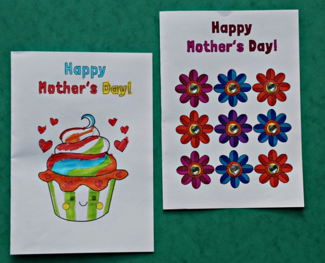 Happy Mother's Day colouring cards from Mrs Mactivity. Free to download