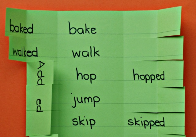 Home made learning aid for past tense verbs when you need to add ed and double the last letter