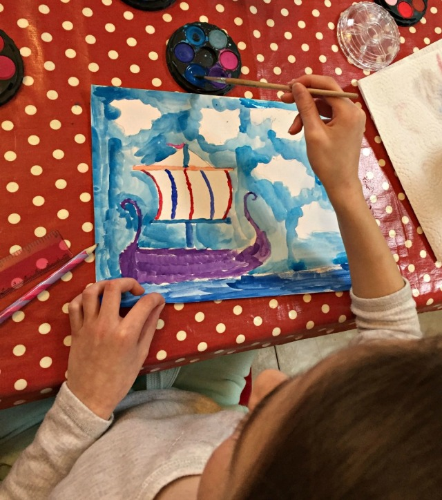Creating a stormy seas viking boat picture