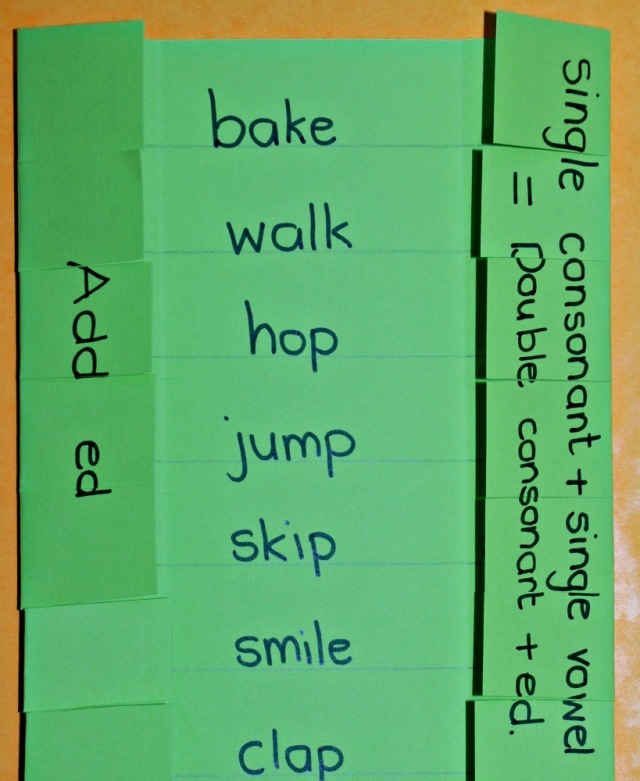 Past tense verbs home-made folding learning aid. When do you double the last letter before adding ed