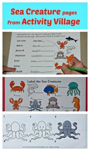 Sea Creature pages from Activity Village. Including label the picture and word scramble