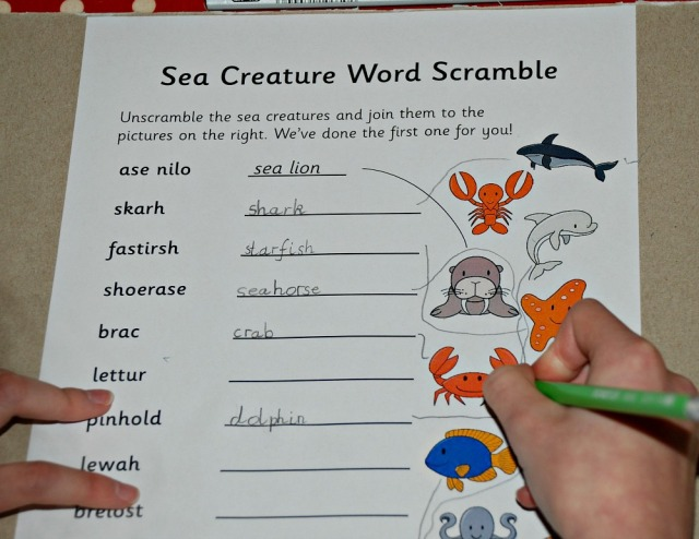 Sea Creature word scramble from Activiy Village. A fun way to practice some spelling