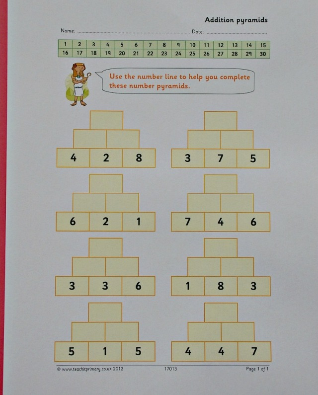 Teachit primary website. Pyramid addition maths free to download