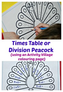 Times Table or Division Peacock.  Made using a colouring page from Activity Village.  Fun maths practice