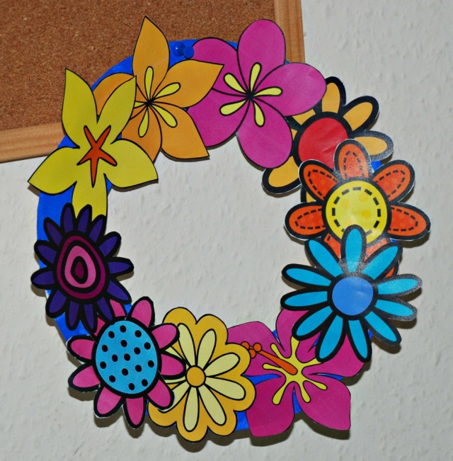 Flower Wreath made from the flower cut-out images from Activity Village