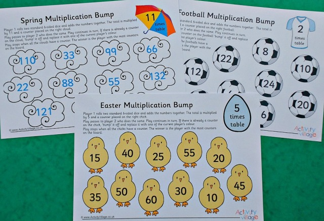 Activity Village Multiplication Bump Games. Fun way to practice times tables with the kids at home