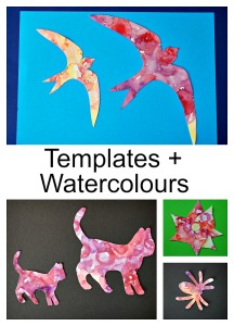 Easy Art Activity for kids.  Watercolour plus templates.  Fun and easy to do at home.  Templates from Activity Village