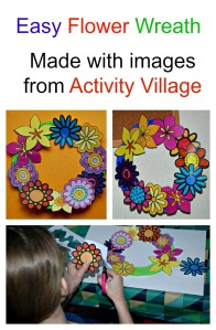 Easy Flower Wreath. Made with Images from Activity Village
