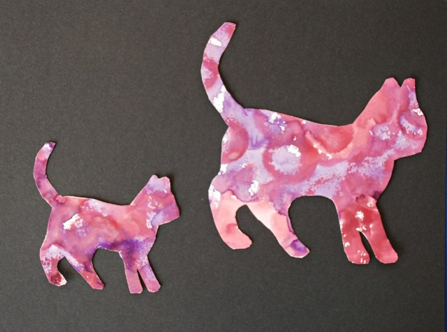 Fun Easy Template Art for children. cats made using watercolours and templates