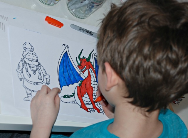 Colouring in the black and white How To Train YOur Dragon Stick Puppets