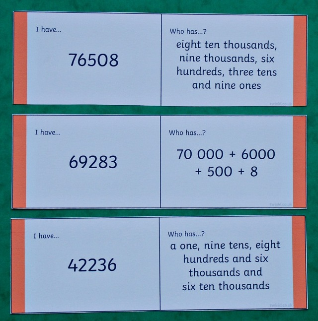 5 digit place value loop cards from Twinkl Resources. Key stage 2 maths resource