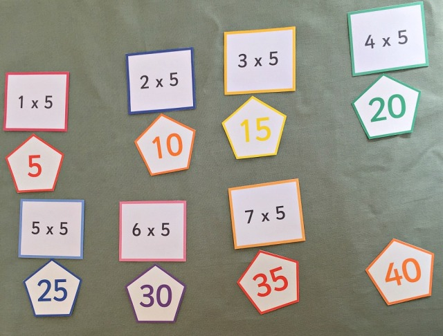 Skip counting cards and times table folding cards both from Activity Village. Great for working on times table at home