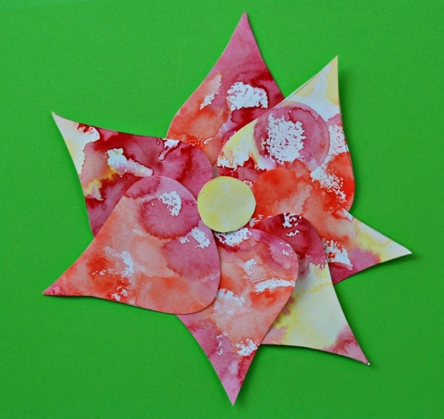 Teardrop tree template from Activity Village used to create a flower picture