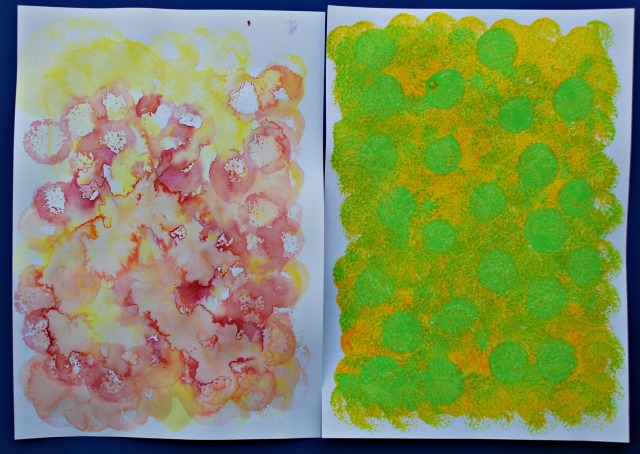 Watercolour with dabbers verses acrylic paint with dabbers