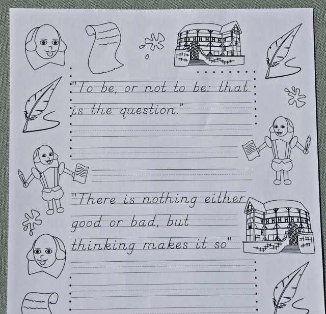 Activity Village has a series of copywork pages all using famou Shakespeare quotes