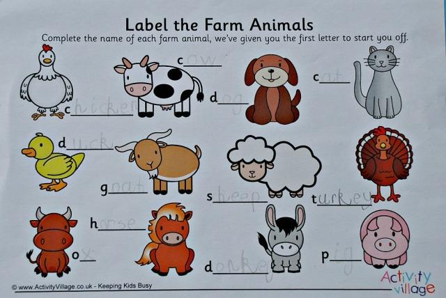 Activity Village label the farm worksheet