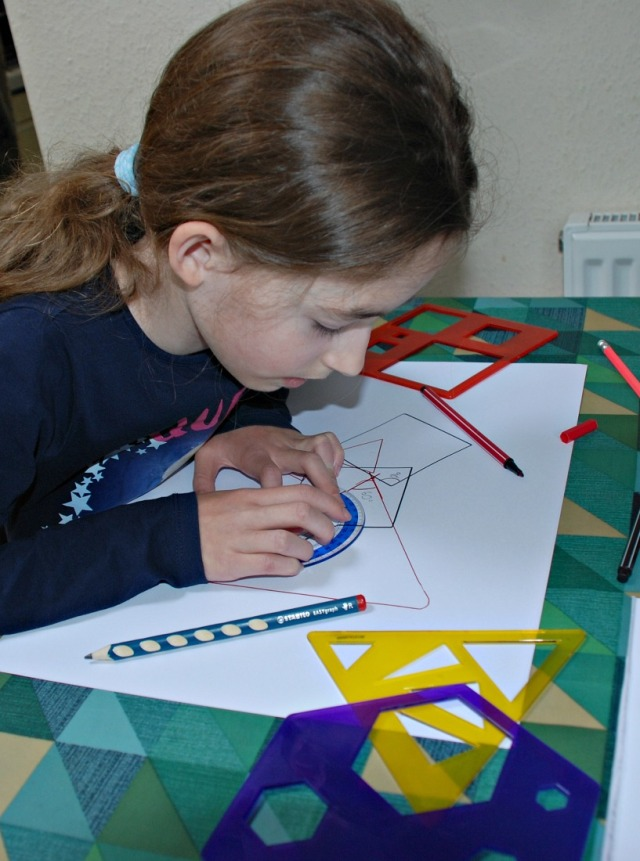 Measuring random angles created after drawing shapes using their Learning Resources shape stencils